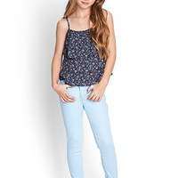 FOREVER 21 GIRLS Tiered Floral Print Cami (Kids) Navy/Multi