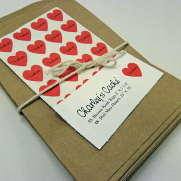 48 Kraft brown paper Merchandise Bags 5X7 Multi Usages Plus 48 Mini Red Heart Stickers Personalized