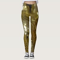 Dark gold and metallic abstract pattern leggings