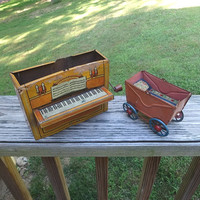 Two, 1930s or 1940s Vintage Tin Toys with Missing Parts, Crank Music Box Piano Made in Germany and Baby Carriage. Vintage Toy Decorating