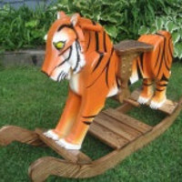 Travis The Wooden Rocking Tiger by TrottWoodCreations on Etsy