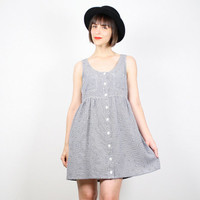 Vintage Mini Dress 90s Dress Soft Grunge Dress Babydoll Dress Plaid Gray Daisy Floral Print 1990s Dress Sundress Kawaii Lolita S M Medium L
