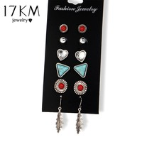 17KM 6 Pairs/Set Punk Triangle Crystal Heart Stud Earring Brincos 2017 Vintage Leaves Earrings Set For Women Gift Jewelry
