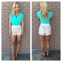 Crochet Turks And Caicos Romper - MINT
