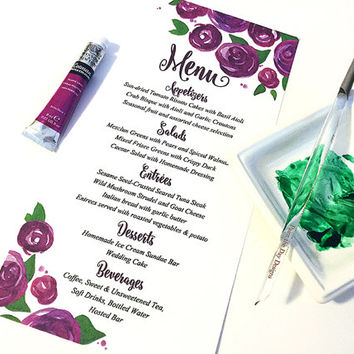 "Watercolor Wedding Menu - Entree Card Napkin Insert Menu ""Lovely Roses"" Purple Wine Wedding Reception Card Dinner Menu Card - Reception Menu"
