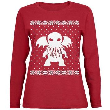 ICIK8UT Big Cthulhu Lovecraft Ugly Christmas Sweater Womens Long Sleeve T Shirt