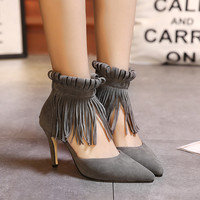Summer Tassels Zippers High Heel Pointed Toe Shoes [6044950913]