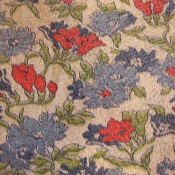 1940s Old Feedsack Fabric Floral Print Blue Pink Flowers Cotton Feed Sack
