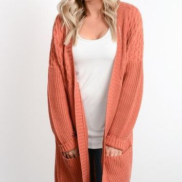 Rust Cable Knit Sweater Cardigan