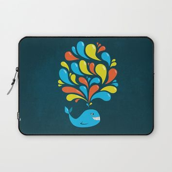 Dark Colorful Happy Cartoon Whale Laptop Sleeve by Boriana Giormova