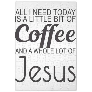 All I Need Today Is A Little Bit Of Coffee And Whole Lot Of Jesus Slogan  Jigsaw Puzzle Maze| Unique And Custom Learning Games For Kids & Adults| Learning Made Fun With Custom Design & Printed Jigsaw Puzzles