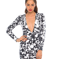 Motel Meli Plunge Neck Dress in Loose Your Marbles
