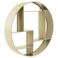 Round Wall Shelf with 7 Slots and 2 Keyhole Hangers- Champagne- Benzara