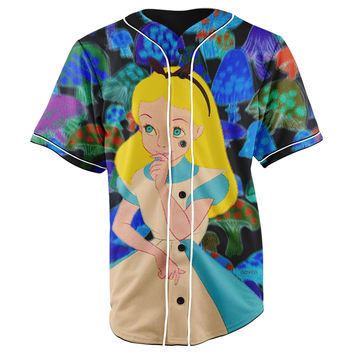 Alice's Trippy Adventures in Wonderland Button Up Baseball Jersey