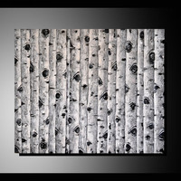 Original Black and White Birch Trees Painting, Abstract Art, Modern Landscape, Textured Aspen Trees Artwork, Unique Home Decor gift