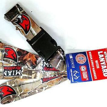 Miami Ohio Redhawks CAMO RR Deluxe 2-sided Lanyard Breakaway Keychain University