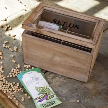 Gardener's Wooden Seed Packet Organizer Box With Hinged Glass Lid
