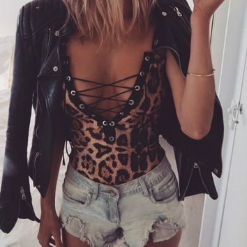 Bodysuit Party Leopard Print Bodycon Romper Stretch Leotard bodysuit Tops Cloth Sexy Women Lady Slim Sleeveless V-neck Lace-up