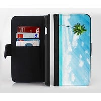 The Paradise Beach Palm Tree Ink-Fuzed Leather Folding Wallet Credit-Card Case for the Apple iPhone 6/6s, 6/6s Plus, 5/5s and 5c