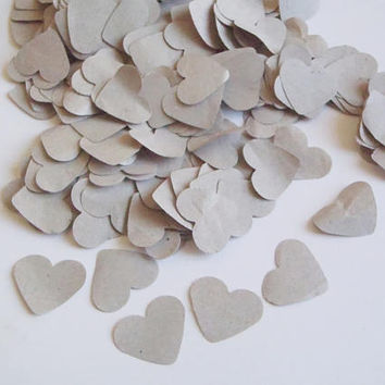 heart confetti beige gray grey rustic wedding paper recycled upcycled table decor scrapbooking baby shower favor scrapbook lasoffittadiste