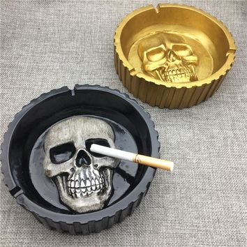 Golden Black Creative Fashion Style Resin Skull Large Ashtrays Retro Skulls Cigarette Cigar Ashtray Desktop Decoration