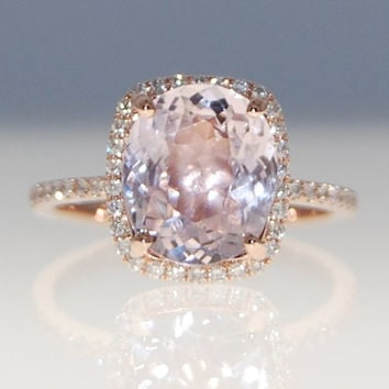 3.5ct cushion mauve blush ice peach champagne sapphire 14k rose gold diamond ring engagement ring