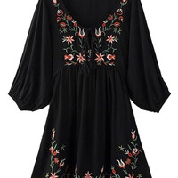 Black V-neck Floral Pattern Crepe Detail Dress