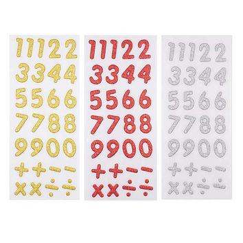 Glitter Number & Operation Stickers, Gold/Red/Silver, 1-Inch, 3-Packs