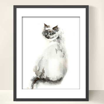 Cat Watercolor Painting Art Print, Grey Cat Kitten, Watercolour Art, Cat Art, Wall Art