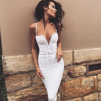 Q-SKY Women Dress 2018 Summer Sexy Off Shoulder Backless White Party Midi Dress Bandage V-Neck Bodycon Spaghetti Strap Dresses