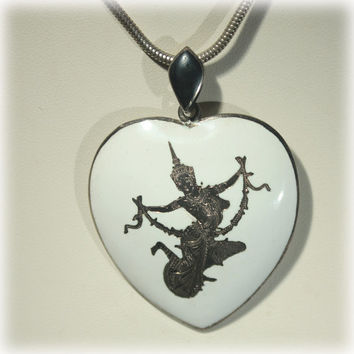 Sterling Heart Pendant, Sterling Snake Chain, Siam Sterling, Amfarco, Dancing Lady, Fairy Goddess, White Enamel, Heart Jewelry