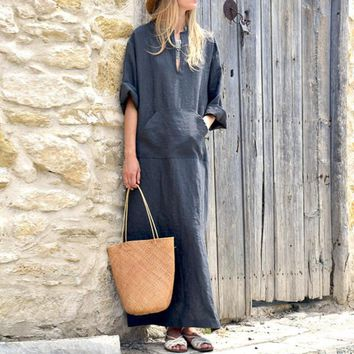 Casual Cotton Front Pocket Roll Sleeve Rustic Summer Dress