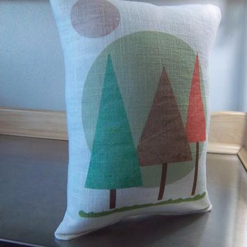Linen pillow kids room decor woodland nursery cushion