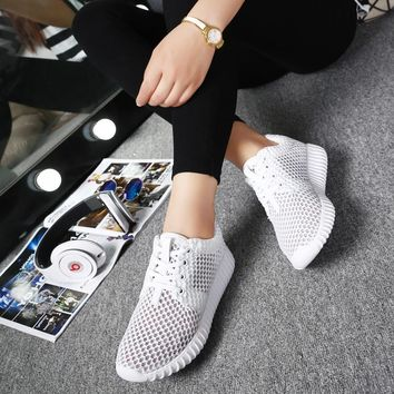 Bjakin Summer Running shoes for Women White Mesh Sneakers Female Breathable Mesh Sport Shoes Gym Shoes