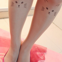 new Cat pattern Tattoo socks Transparent  pantyhose Stockings Tights Leggings