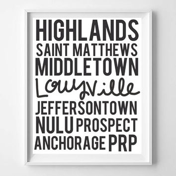 Louisville Neighborhoods hand lettered home sweet home quote illustration typography print home decor college dorm room prints posters