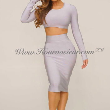 Tierra bandage 2 piece dress (grey)