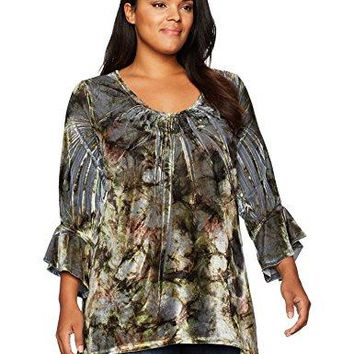 OneWorld Womens Plus Size 34 Flared Sleeve Velvet Top With Lace Back