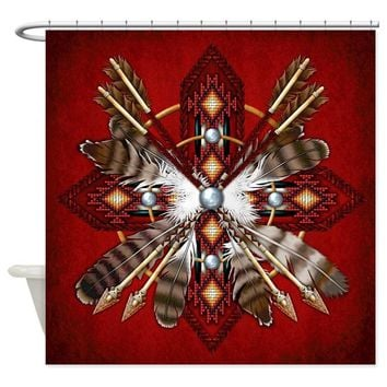 Native American Feathered Bows Shower Curtains