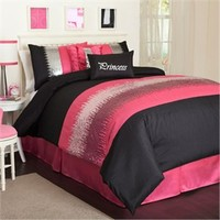 Night Sky Pink and Black Comforter Set by Triangle Home Fashions