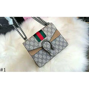 GUCCI 2018 new retro chain bag tiger head lock buckle small square bag shoulder Messenger bag handbag #1