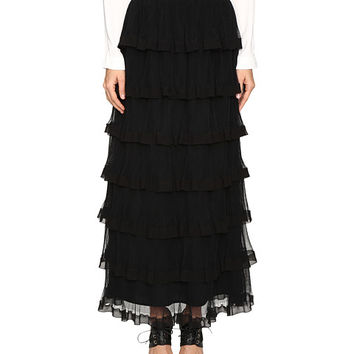 RED VALENTINO Silk Georgette with Tulle Skirt