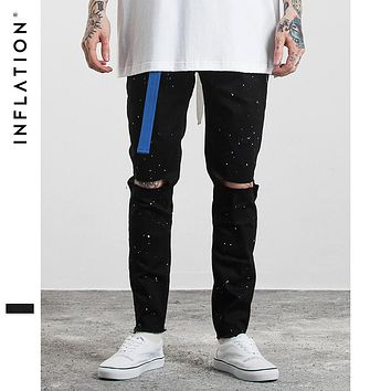 Men Fashion Solid Color Straight Ripped Inked Elastic High Street Biker Jeans Side Zipper Jeans