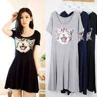 Women Summer Mini Dress Casual Cartoon Cat Female Dress Everyday Wear Woman Female Vestidos