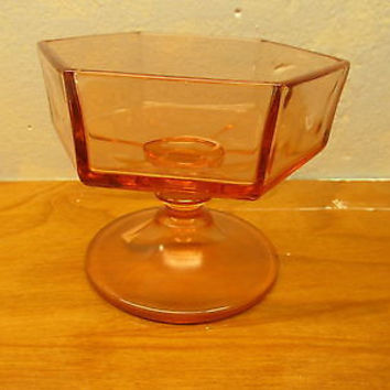 VINTAGE PINK DEPRESSION GLASS CANDY DISH