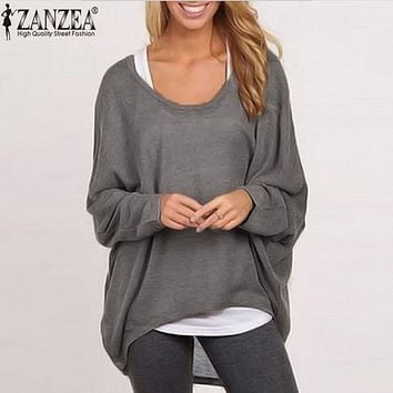 Spring Autumn 2018 Women Blouse New Fashion Batwing Long Sleeve Casual Loose Solid Color Shirt Plus Size Sexy Tops Blusas