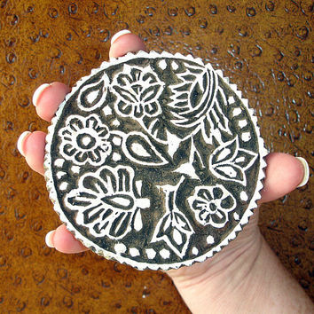 Hand Carved Wood Printing Block, Flower and Leaf Stamp, Large Indian Circle Stamp, Round Wooden India Ceramic Tile Pottery Stamp