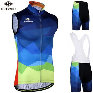 Siilenyond Sleeveless Cycling Jersey Set Breathable Racing Bicycle Cycling Vest Bike Cycling Clothing Suit Maillot Ropa Ciclismo