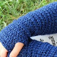 Blue Crochet Fingerless Gloves, Long Arm Warmers, Slouchy Texting Gloves, Gauntlets, Mittens, Women's Teen's Gloves