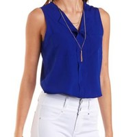 Double Pocket Sleeveless Crop Top by Charlotte Russe